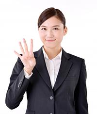 4を手で表す女性バナー